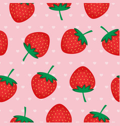 seamless background with red strawberries vector image vector image