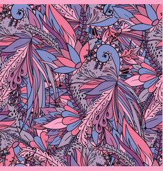 Seamless pattern with abstract flowers and leaves vector