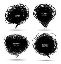 Set of Scribble black bubbles vector image