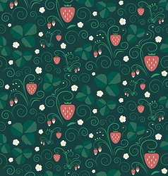 Strawberry fields seamless pattern vector image