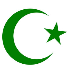 Symbol of islam crescent and star dark green vector