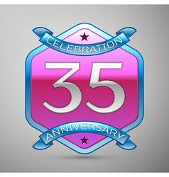 Thirty five years anniversary celebration silver vector