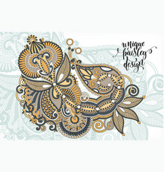 unique flower paisley design hand drawing floral vector image vector image