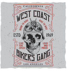 west coast bikers gang poster vector image