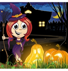 Witch girl near the haunted house vector