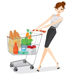 Woman pushing shopping cart vector