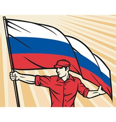 Worker holding a russian flag vector
