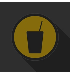 yellow round button drink with straw - black icon vector image vector image