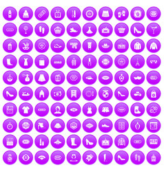 100 woman shopping icons set purple vector