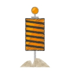 Drawing roadblock traffic light warning sand vector