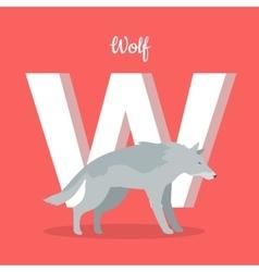 Animals alphabet letter - w vector