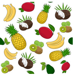 Seamless pattern of tropical fruits vector