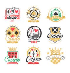 casino logo design set of colorful gambling vector image