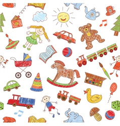Colorful seamless pattern childish doodles vector