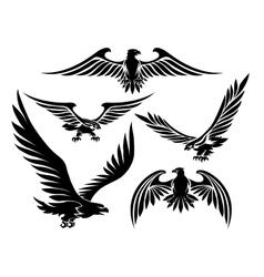 Heraldic eagle icons vector image