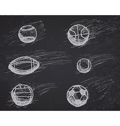 Ball sketch set with shadow and dynamic effect on vector