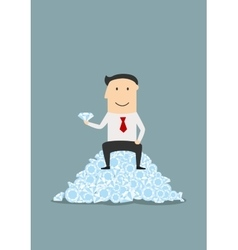 Businessman sitting on heap of shiny diamonds vector