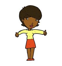 comic cartoon woman giving thumbs up symbol vector image