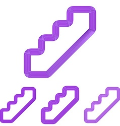 Purple line stair logo design set vector