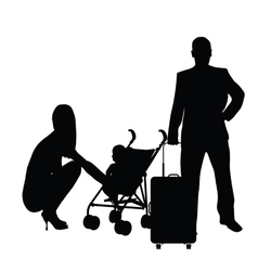 Couple with baby and travel bag vector