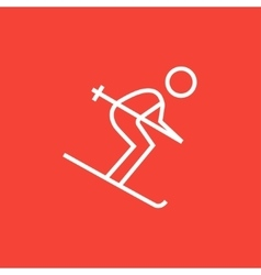 Downhill skiing line icon vector