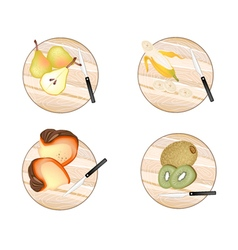 Pears banana pumpkin and kiwifruit vector