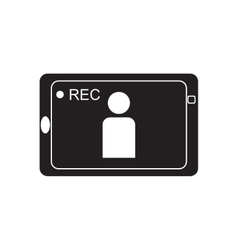 Flat icon in black and white mobile phone video vector