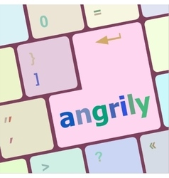 Angrily button on modern computer keyboard key vector