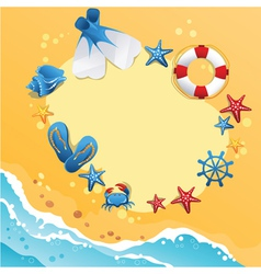 Template design of summer beach banner vector