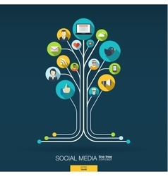 Abstract social media background Growth tree vector image