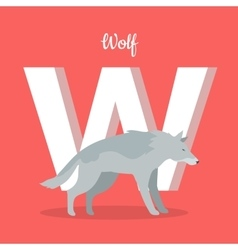 Animals alphabet letter - w vector