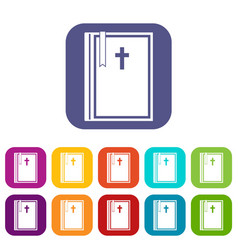Bible icons set flat vector