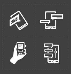 Black and white flat social icons set vector