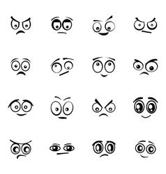 black cartoon eyes set vector image vector image