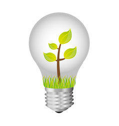 bulb with plant inside icon vector image