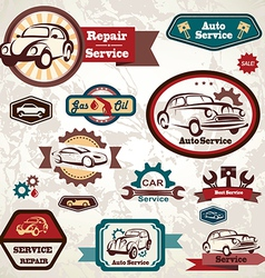 car service retro emblem collection of vintage lab vector image vector image