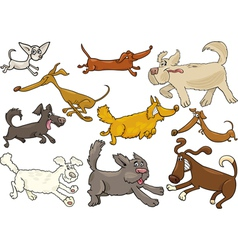 Cartoon playful running dogs set vector