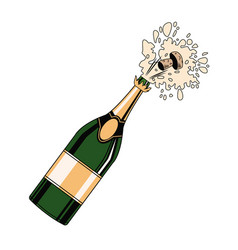 Champagne bottle open pop art vector