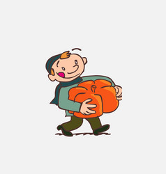 Child with big pumpkin between arms vector