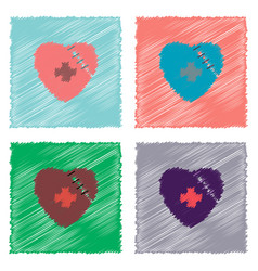 Collection of flat shading style icons sewn heart vector