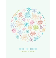 Colorful doodle snowflakes circle frame seamless vector