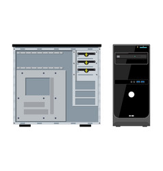 Computer case front and side view vector