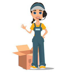 Courier woman with headset accepts an order vector