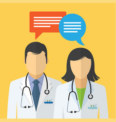 Doctor and nurse in white lab coat and speech vector