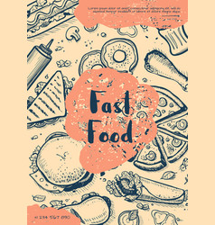 Fast food retro restaurant menu cover vector