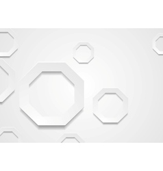 Geometric background with grey paper octagons vector
