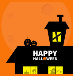 happy halloween haunted house roof attic loft vector image vector image