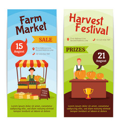 Harvest farm vertical banners vector