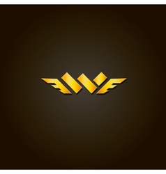 Letter w gold font template for company vector