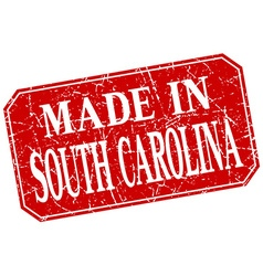 Made in south carolina red square grunge stamp vector